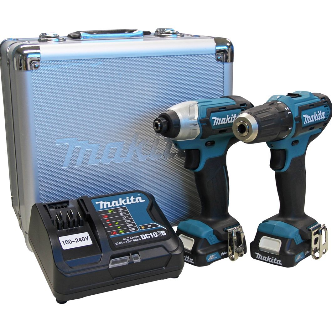 Combo Makita CLX224SAX = Furadeira DF333D + Parafusadeira Impacto TD110D + 02 Baterias 12v 2Ah + Carregador Rápido Bivolt + Maleta Metálica