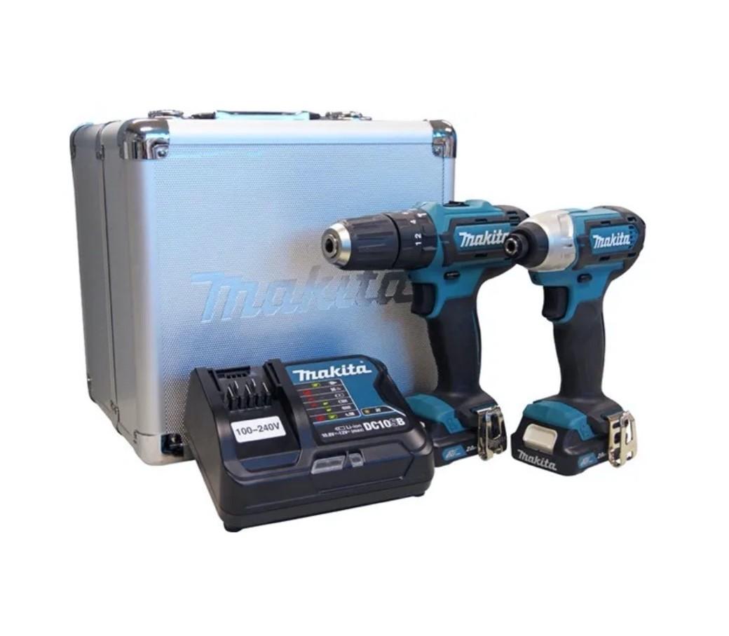 Combo Makita CLX228SAX = Furadeira HP333D + Parafusadeira Impacto TD110D + 02 Baterias 12v 2Ah + Carregador Rápido Bivolt + Maleta Metálica