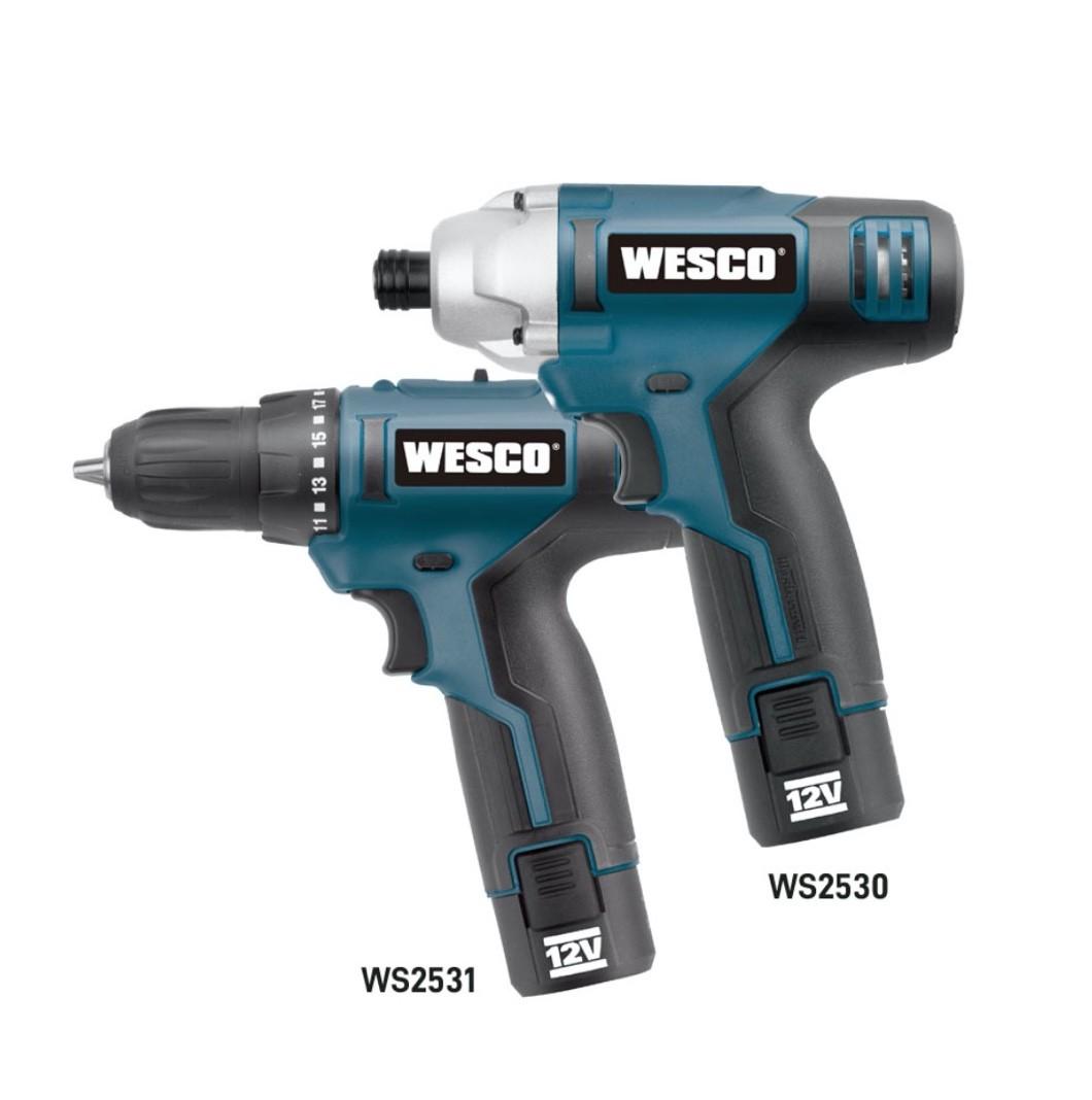 Combo WESCO WS1000K2 = Furadeira WS2531 + Parafusadeira Impacto WS2530 + 02 Baterias 12v 1.3Ah + Carregador Rápido Bivolt + Bolsa