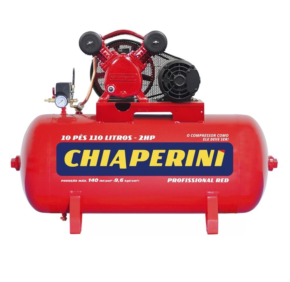 Compressor Ar Media Pressao 140 Lbs CHIAPERINI RED 10 PCM Tanque 110 Litros 2HP Monofasico