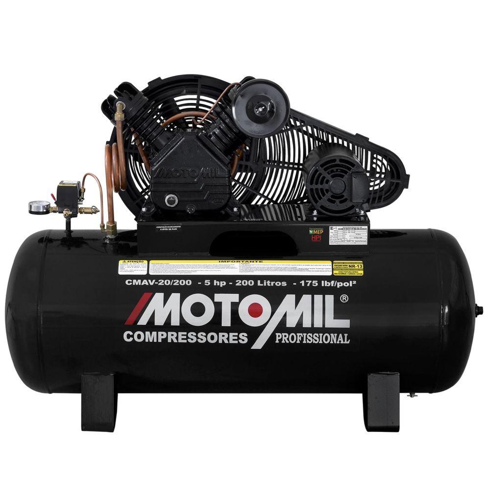Compressor Ar Motomil Profissional CMAV 20/200 5Hp Trifásico