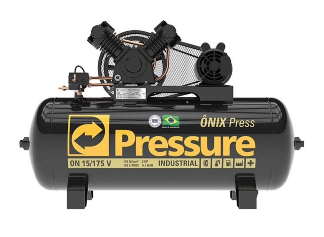 Compressor Ar Pressure Onix Press 15/175V 140 PSI 175 Litros 3HP Monofásico
