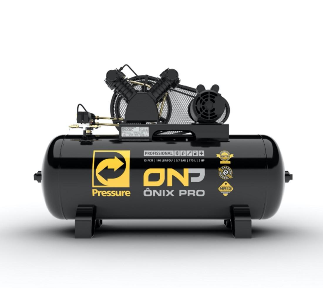 Compressor Ar Pressure ONP 15 PCM 140 LBS Tanque 175 Litros 3HP Monofasico