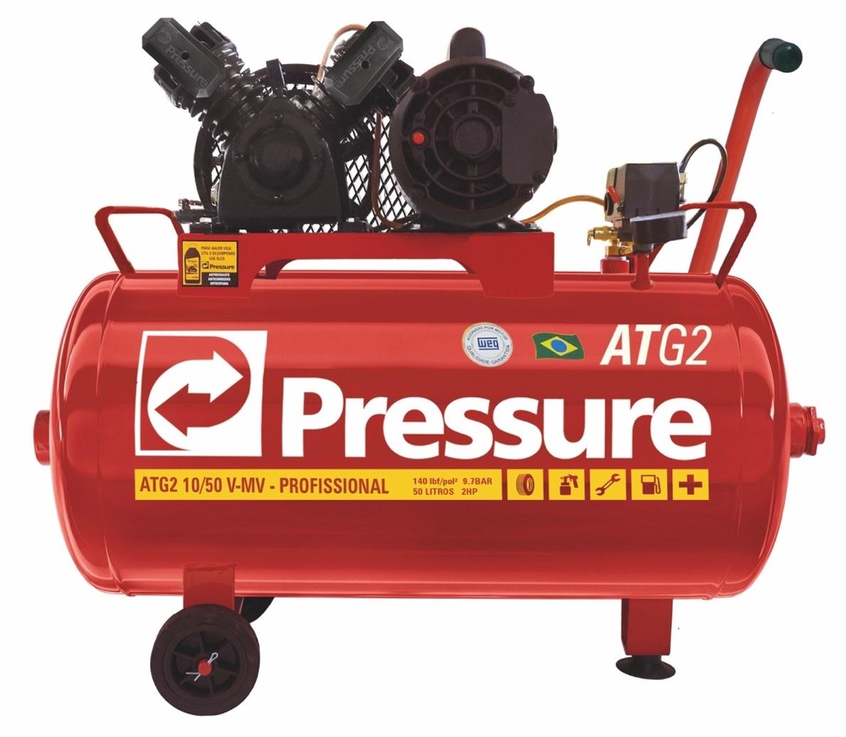Compressor Ar Pressure Portátil ATG2 10/50 com motor 2HP