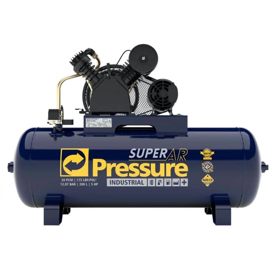 Compressor Ar Pressure Super AR 20/200V 175 PSI 200 Litros Motor 5HP Trifásico