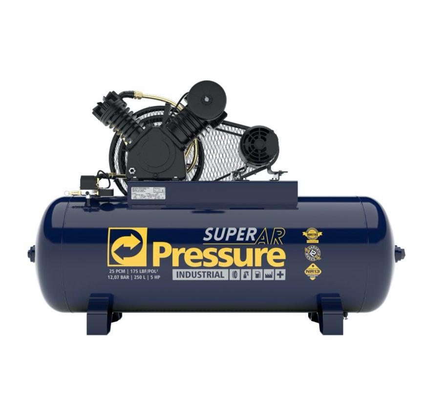 Compressor Ar Pressure Super AR 25/250V 175 PSI 250 Litros Motor 5HP Trifásico
