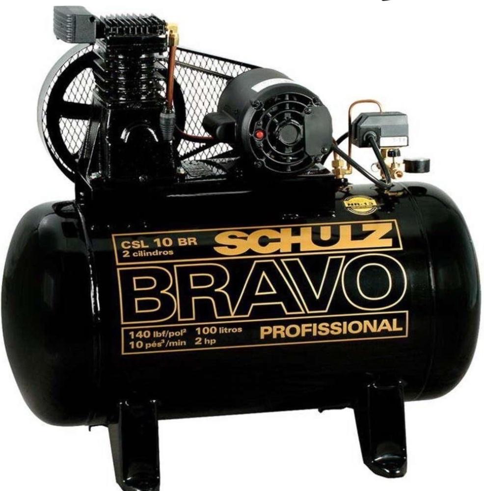 Compressor Ar Schulz Bravo CSL10BR/100 2Hp Monofásico / Tanque 100 Litros