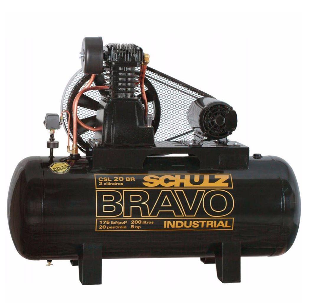 Compressor Ar Schulz Bravo CSL 20BR/200 Tanque 200LT Motor 5HP Trifásico