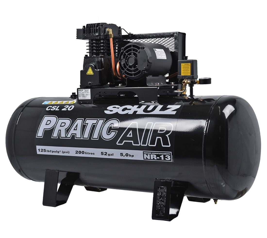 Compressor Ar Schulz Pratic Air CSL 20/200 5HP Trifásico