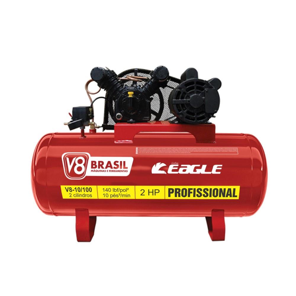 Compressor Ar V8 Brasil Eagle 10/100Lt com Motor Monofásico 2HP