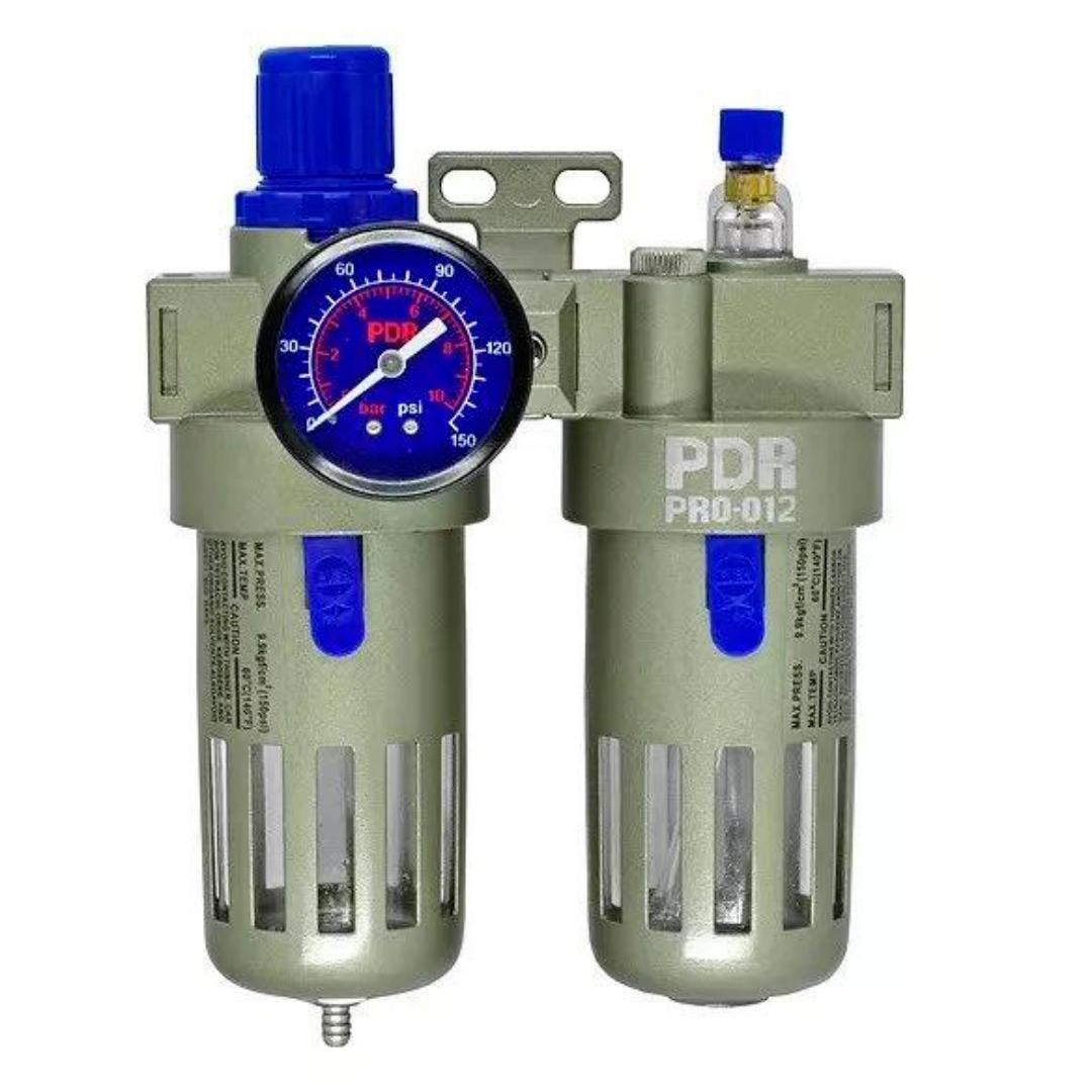Conjunto Lubrifil PDR PRO-012 Filtro Regulador e Lubrificador de Ar com Manometro 1/2
