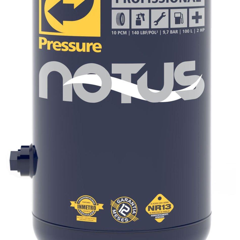 Compressor Ar Pressure Vertical Notus 10/100V 100 Litros 140 psi 02 Hp Monofásico