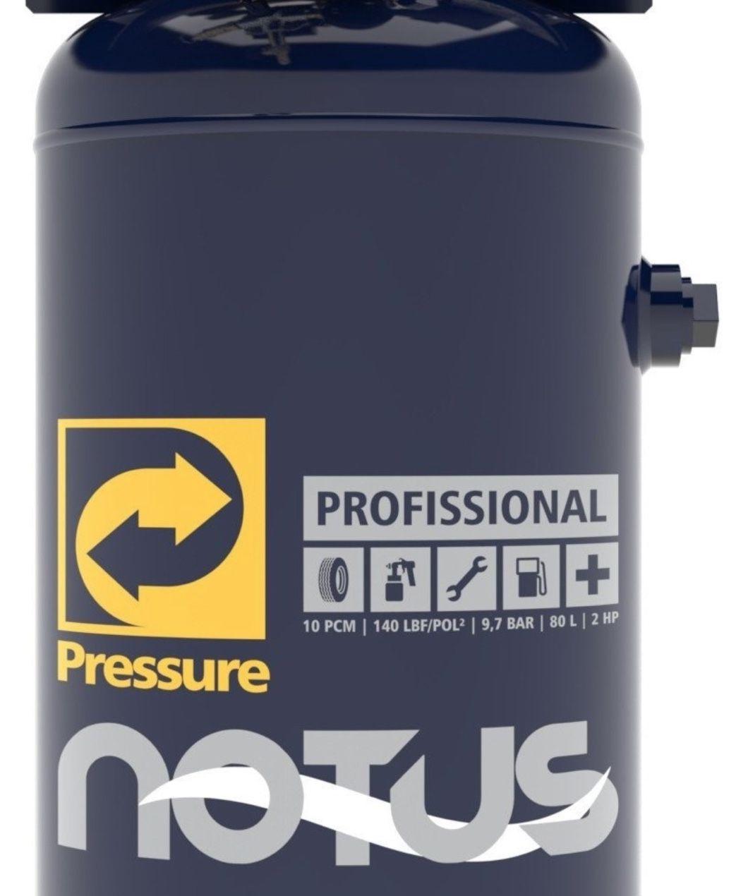 Compressor Ar Pressure Vertical Notus 10/80V 80 Litros Movel 140 psi 02 Hp Monofásico
