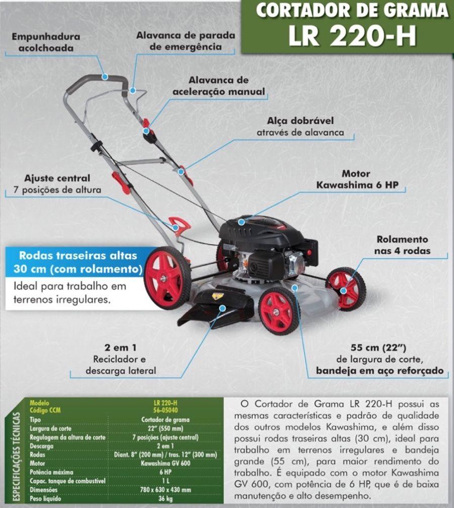 Cortador Grama à Gasolina Kawashima LR220H | Motor 6HP 4T | Largura Corte 550mm | Rodas Alta