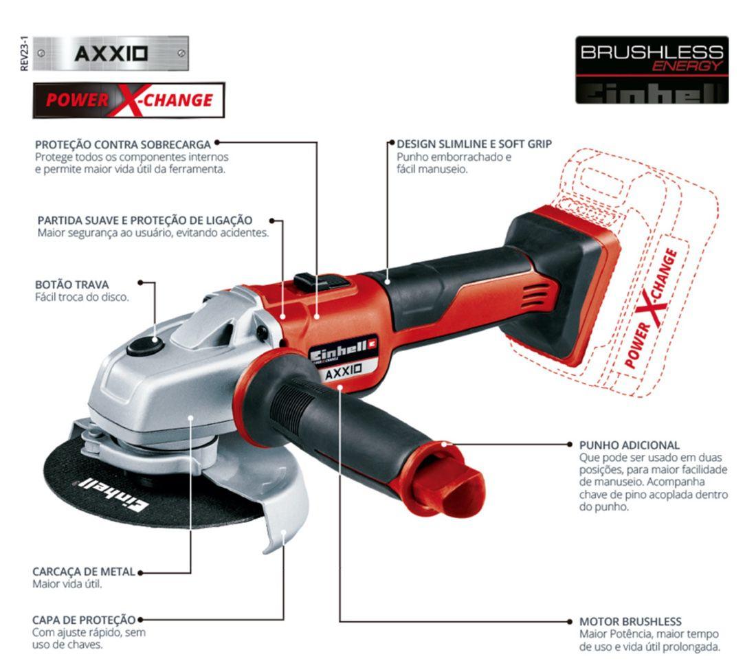 Esmerilhadeira Bateria Einhell 125mm AXXIO SOLO BRUSHLESS (sem carregador e bateria)