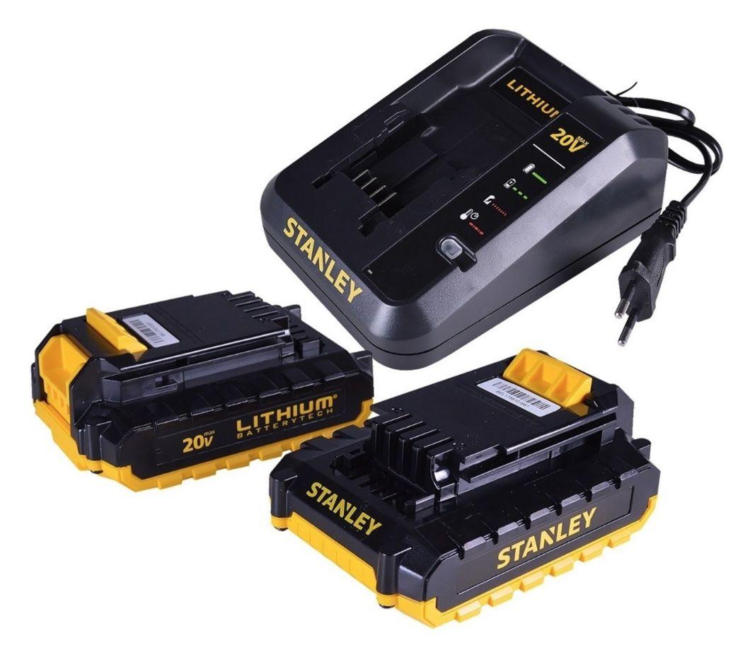 Furadeira Impacto Stanley 20v BRUSHLESS SBH20S2K + 02 baterias + Carregador Bivolt