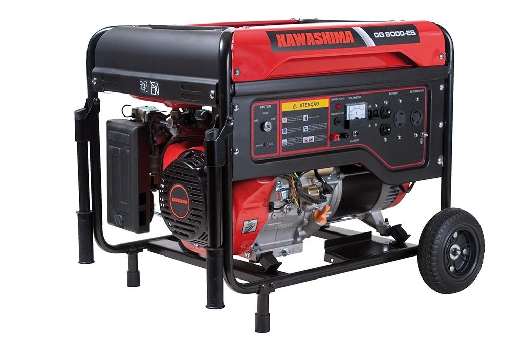 Gerador Energia Kawashima GG8000-ES 8KVA | Monofásico | Bivolt | Motor 14HP 4T