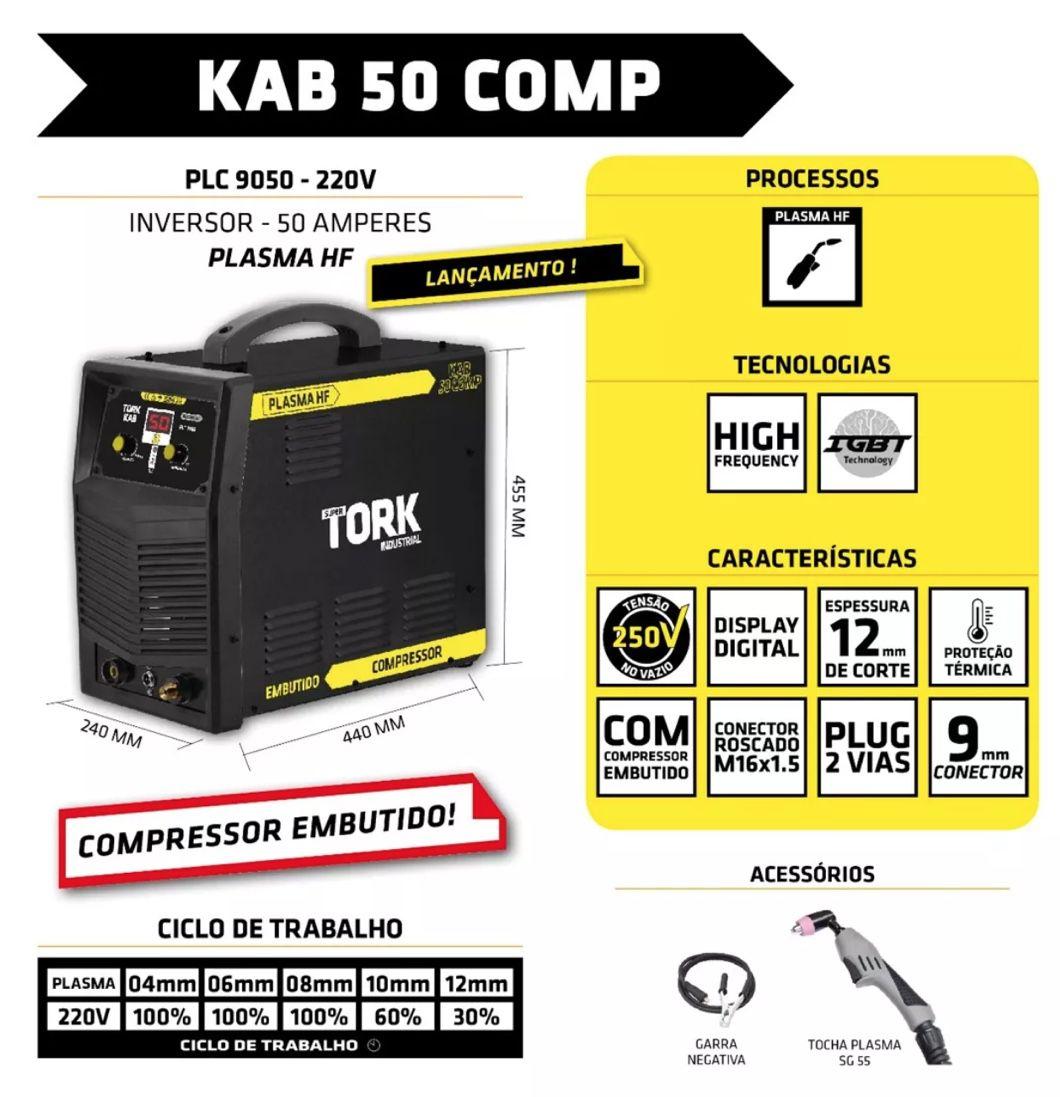 Inversora Corte Plasma SuperTork KAB 50COMP PLC 9050 220v (compressor ar embutido)