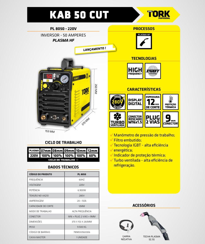 Inversora Corte Plasma SuperTork KAB 50CUT PL-8050 6900w 220v