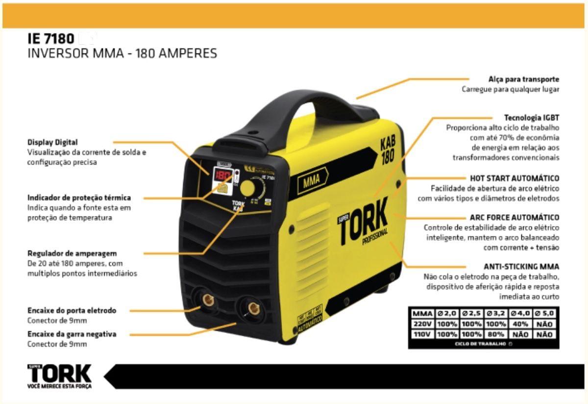Inversora Solda SuperTork 180A IE-7180 220v