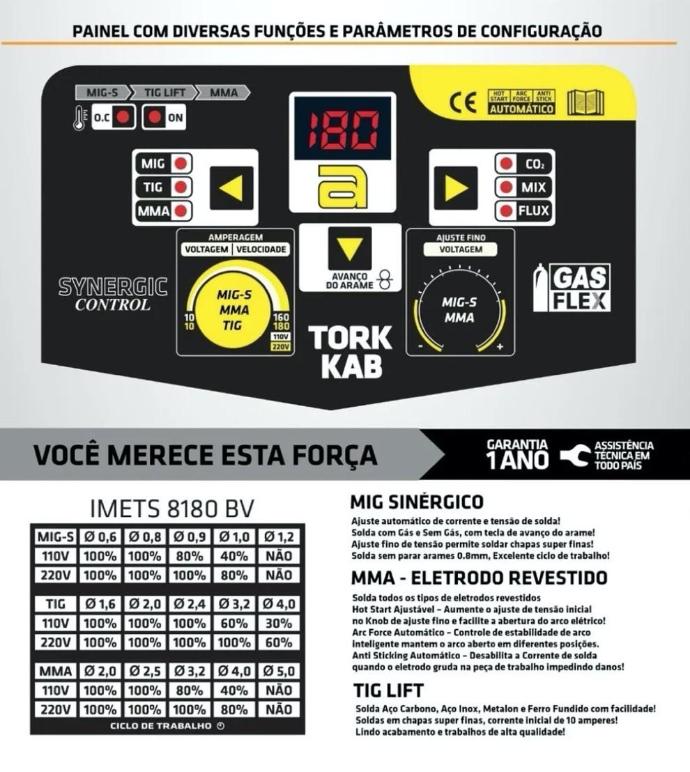 Inversora Solda SuperTork KAB 180 MIG-S IMETS 8180 Bivolt 3x1 (MIG - TIG - Eletrodo)