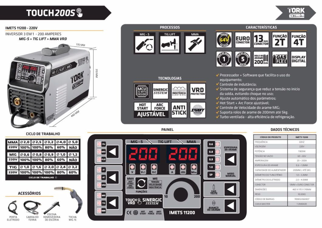 Inversora Solda SuperTork Touch 200 S IMETS-11200 220v 3x1 (MIG-TIG-MMA)