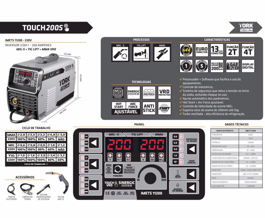 Inversora Solda SuperTork Touch 200 S IMETS-11200 Bivolt 3x1 (MIG-TIG-MMA)