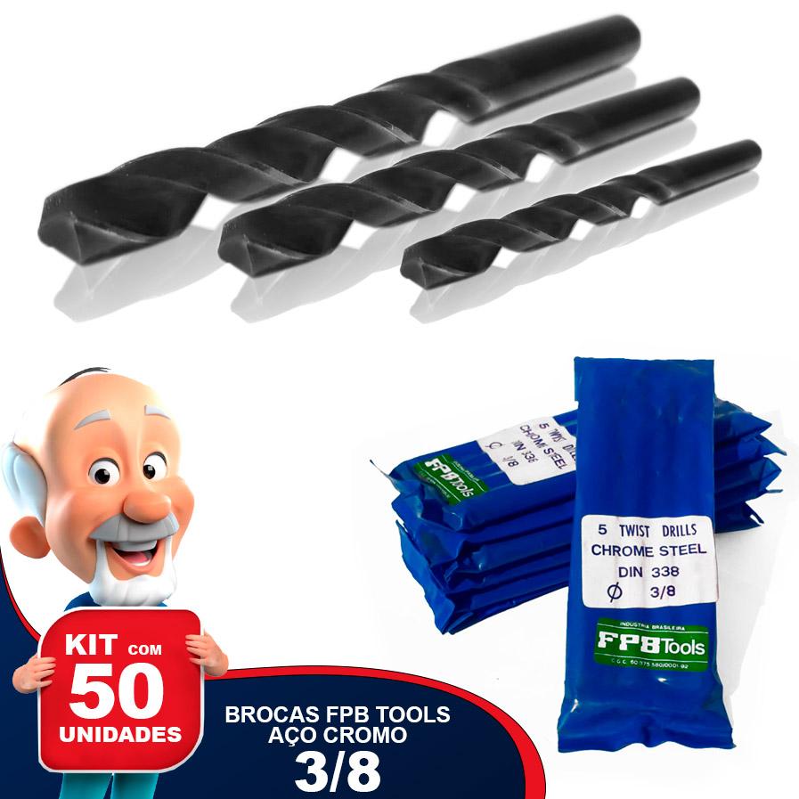 Kit com 50 Brocas FPB TOOLS 3/8 Aço Cromo Carbono DIN 338 Nacional Especial para Madeira