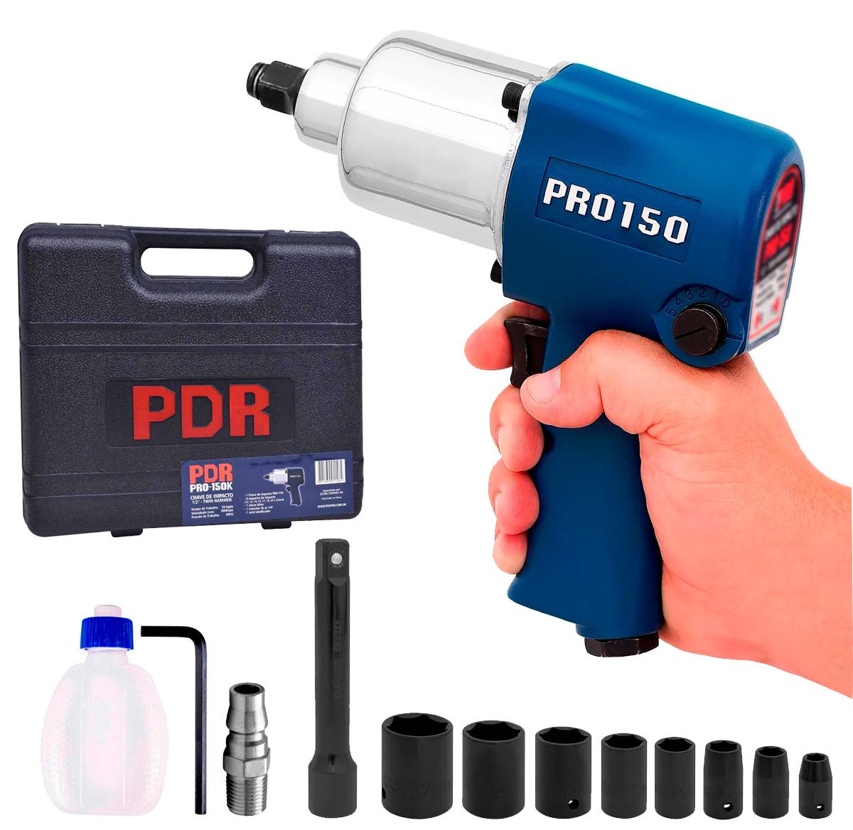 Kit Chave Impacto Pneumatica PDR PRO-150K com Maleta e Acessorios 68 Kgfm Encaixe 1/2