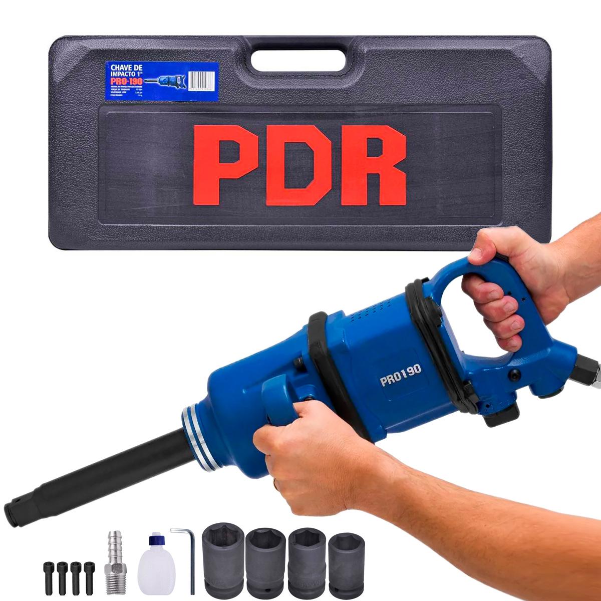 Kit Chave de Impacto Pneumatica PDR PRO-190 com Maleta e Acessorios Longa 1