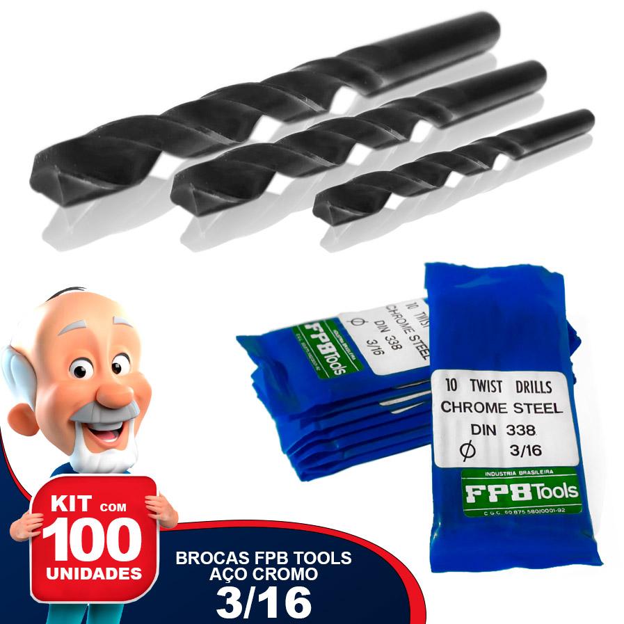 Kit com 100 Brocas FPB TOOLS 3/16 Aço Cromo Carbono DIN 338 Nacional Especial para Madeira