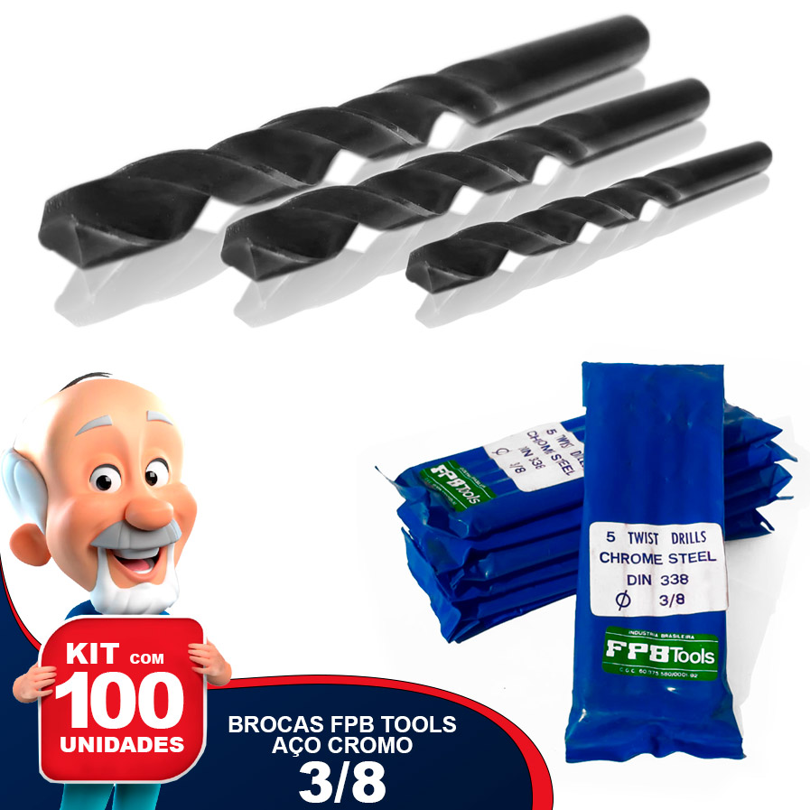 Kit com 100 Brocas FPB TOOLS 3/8 Aço Cromo Carbono DIN 338 Nacional Especial para Madeira