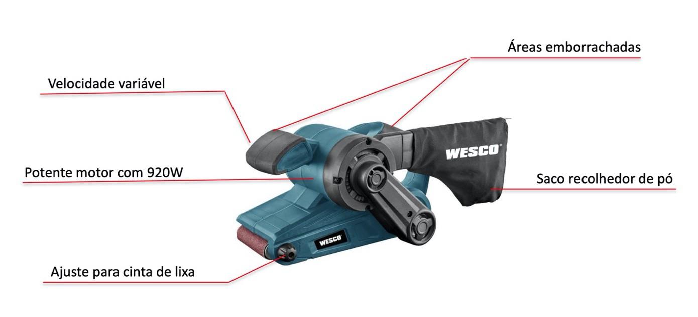 Lixadeira Cinta Manual WESCO 920w WS4366