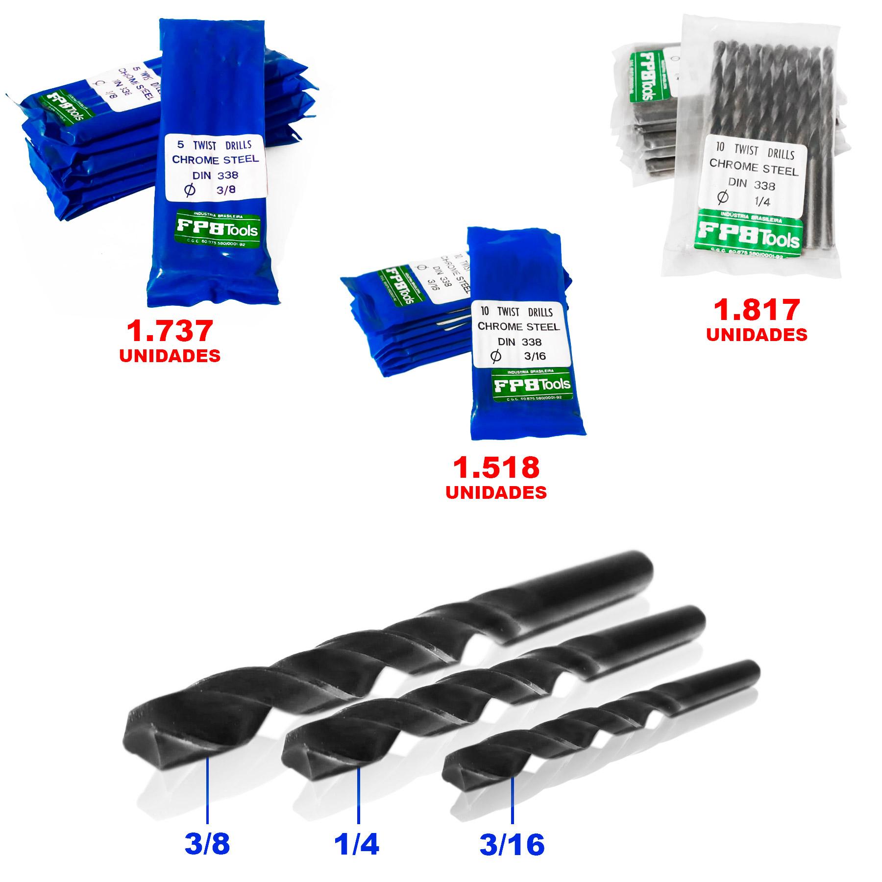 LOTE de Brocas FPB TOOLS Aço Cromo Carbono DIN 338 Nacional 3/8 1/4 e 3/16 Especial para Madeira
