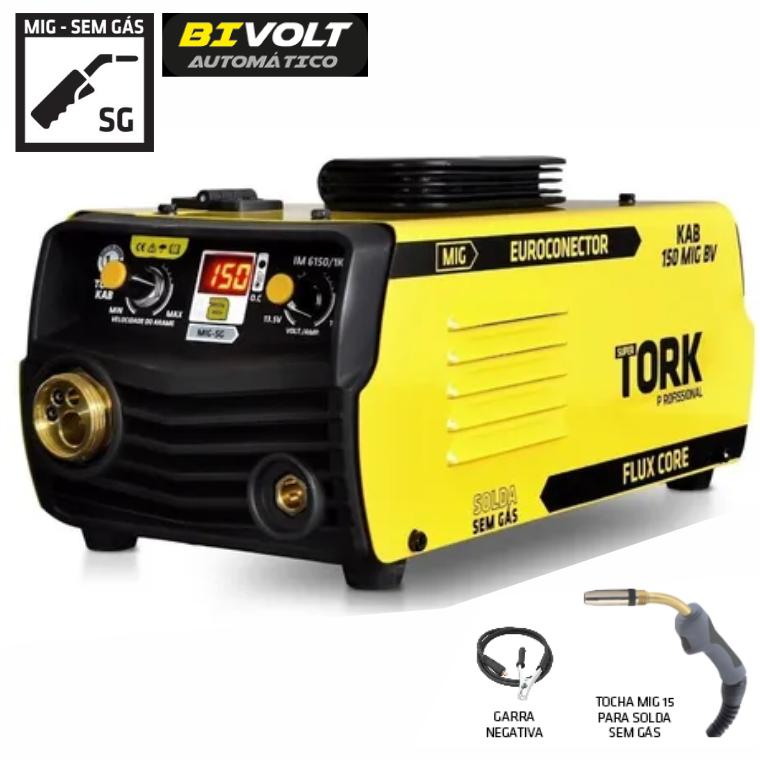 Maquina de Solda Inversora SUPER TORK IM-6150/1K MIG sem Gas 150a Bivolt