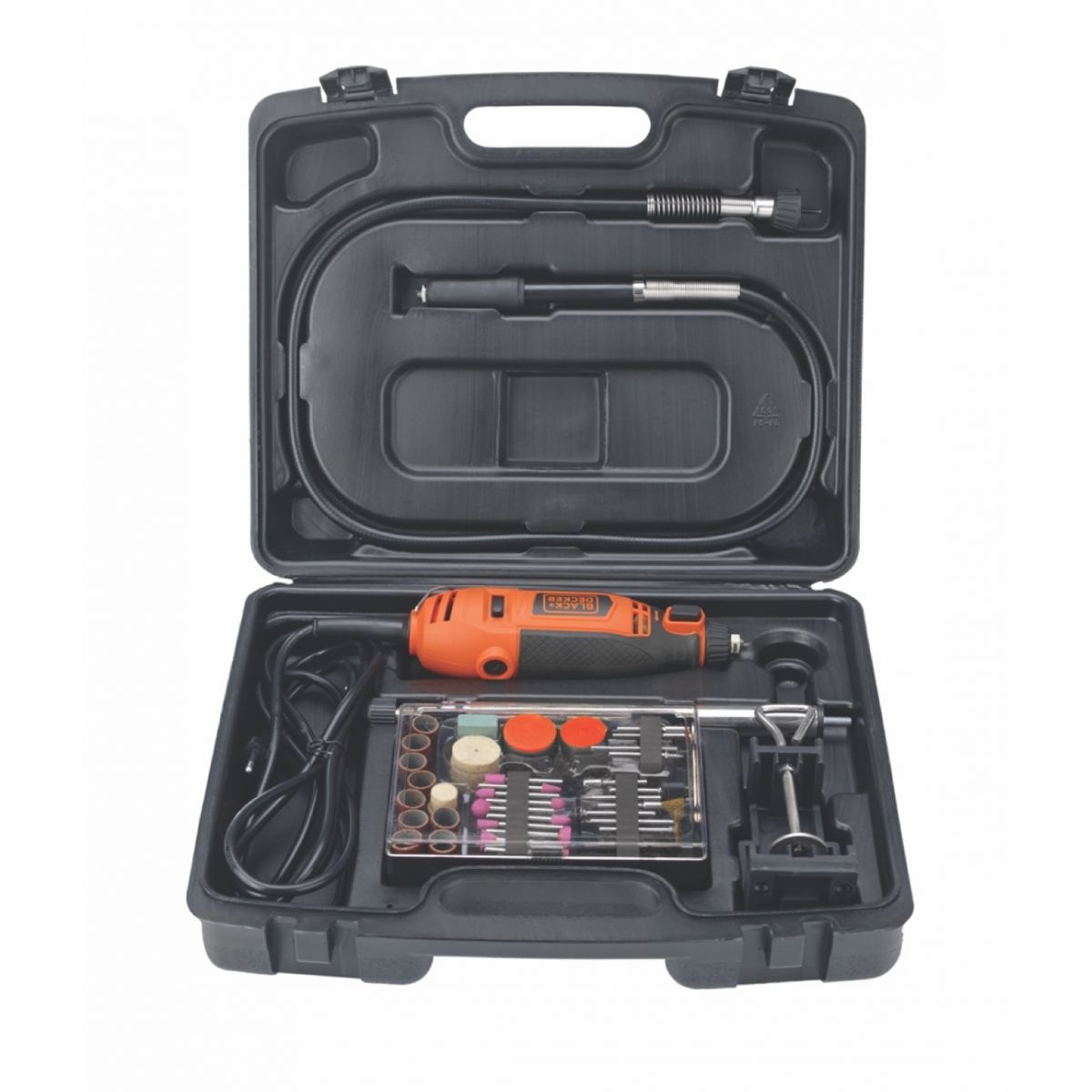 Micro Retífica Black & Decker RT18KA + eixo flexível + kit com 110 peças