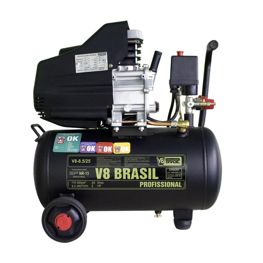 Motocompressor V8 Brasil Portátil 8,5Pés / Tanque 25 Litros / Motor 2Hp