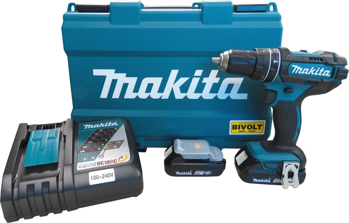 """Parafusadeira / Furadeira Impacto Makita 1/2"""" DHP482RAE com 02 Baterias 18V 2Ah + Carregador Bivolt Rápido + Maleta"""