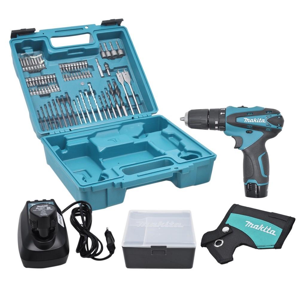 """Parafusadeira / Furadeira Impacto Makita 3/8"""" HP330DWEX3 com 02 Baterias + Carregador Bivolt + Coldre + Maleta e Jogo de Brocas e Bits (74pc)"""