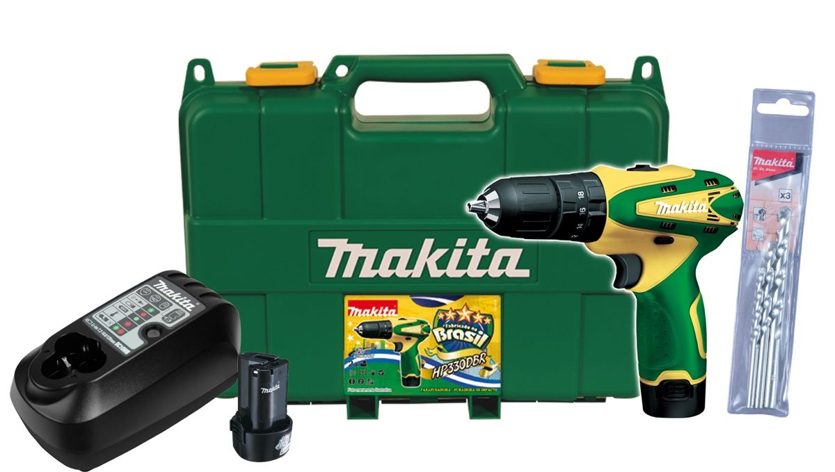 Parafusadeira / Furadeira Impacto Makita HP330DBR com 02 Baterias + Carregador Bivolt + Coldre + Maleta + Kit Brocas