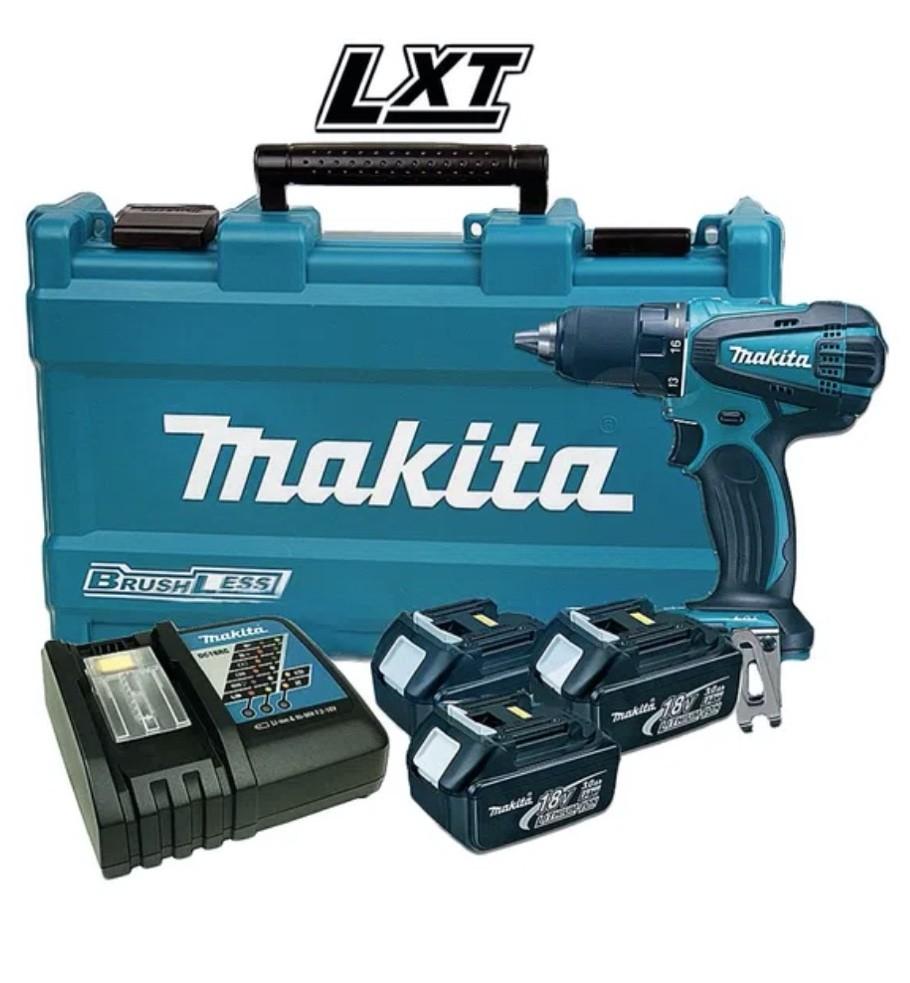 """Parafusadeira / Furadeira Makita 1/2"""" DDF456RFE3 com 03 Baterias 18V 3Ah + Carregador + Maleta"""