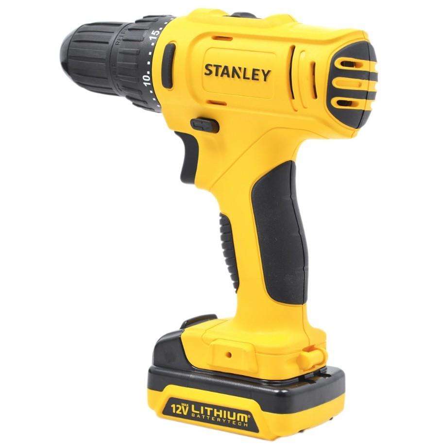 Parafusadeira / Furadeira Stanley 12v SCD12S2K100-BR + 02 baterias + Carregador Bivolt + Kit Acessórios
