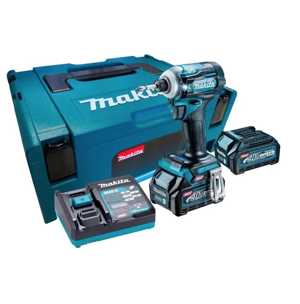 Parafusadeira Impacto Bateria MAKITA 40V BRUSHLESS TD001GD201 com 02 baterias 2.5Ah + carregador rápido e maleta