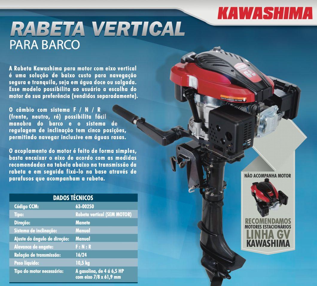 Rabeta Vertical Kawashima para Barco (sem motor)