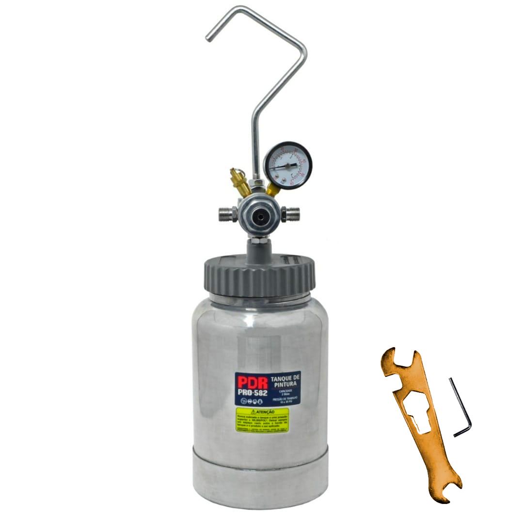 Tanque de Pressão para Pintura PDR PRO-582 02 Litros Pneumatico com Manometro