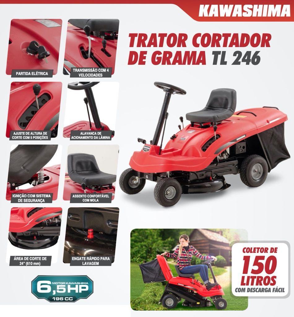 Trator Cortador Grama Kawashima TL 246 196cc 6.5HP com recolhedor