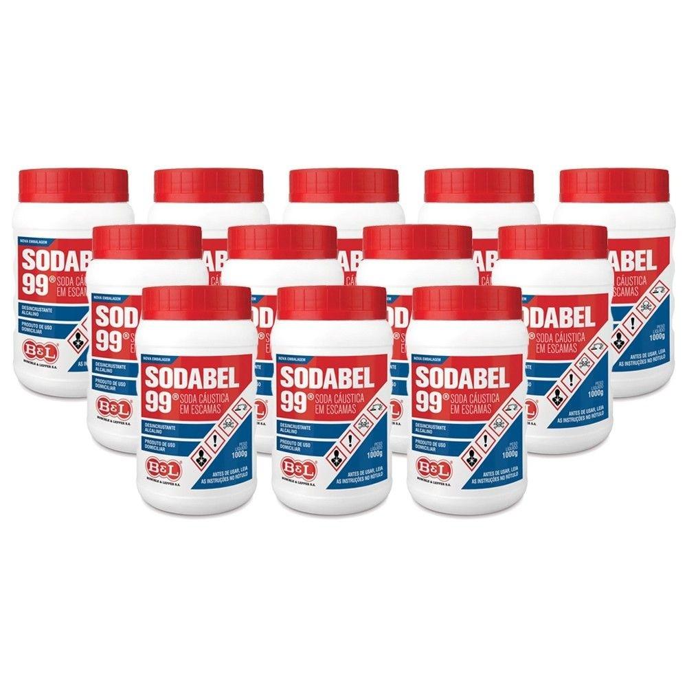 12 Unidades Soda Cáustica Escamas Sodabel 99% 1 Kg
