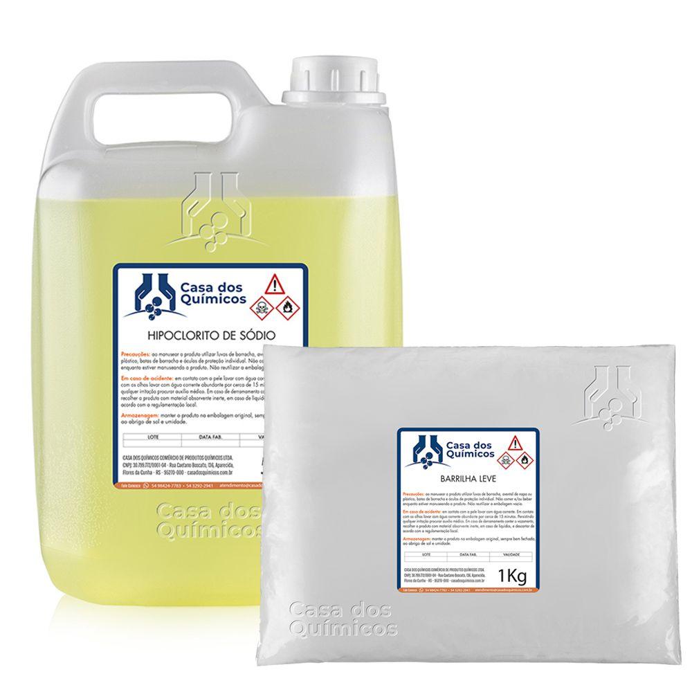 Kit Água Sanitária - Hipoclorito de Sódio 12% + Carbonato de Sódio - Rende 100 litros  - Casa dos Químicos