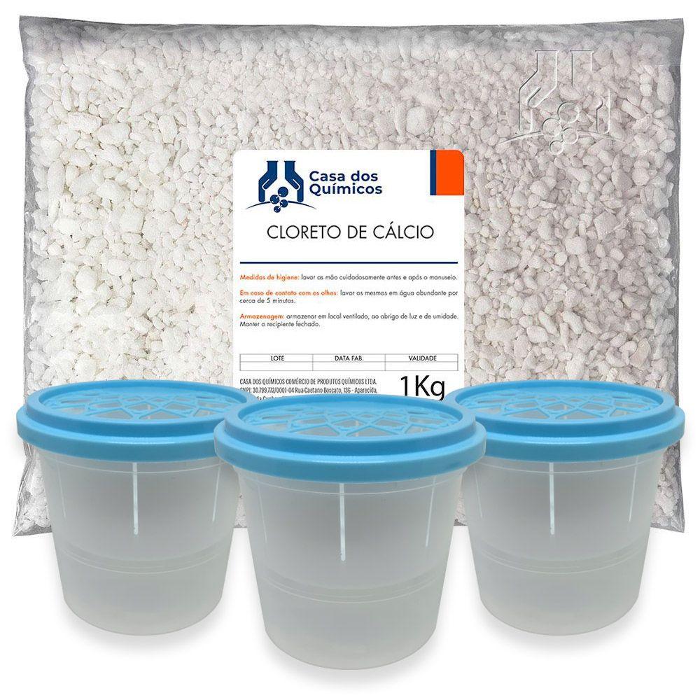 Kit Anti Mofo - Cloreto de Cálcio 1 Kg + 3 Potes Anti Mofo