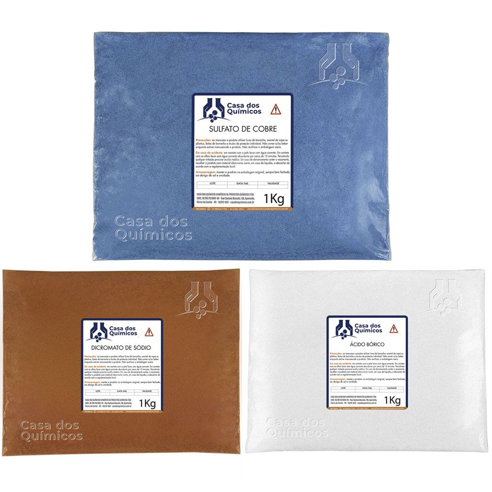 Kit Tratamento de Madeira - Dicromato 5 Kgs + Cobre 5 Kgs + Bórico 5 Kgs